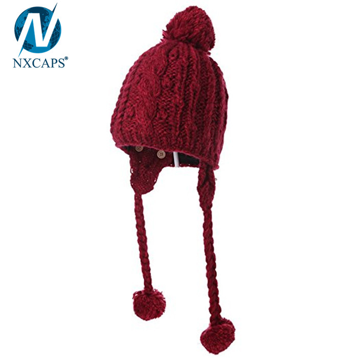 Custom plain beanie with strings winter hats pom pom knitted wool beanies