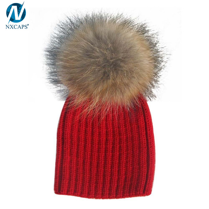 Detachable ball baby knitted beanies pom pom hat kids winter cotton beanie wholesale