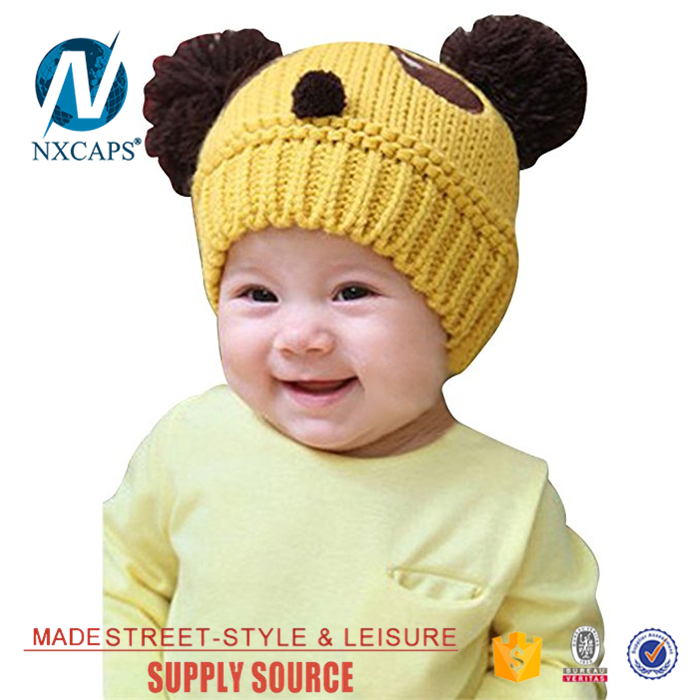 Baby hat cotton winter Double pom pom beanie acrylic hat jacquard pattern fur pom pom beanies hats custom logo slouch girls knitted cap