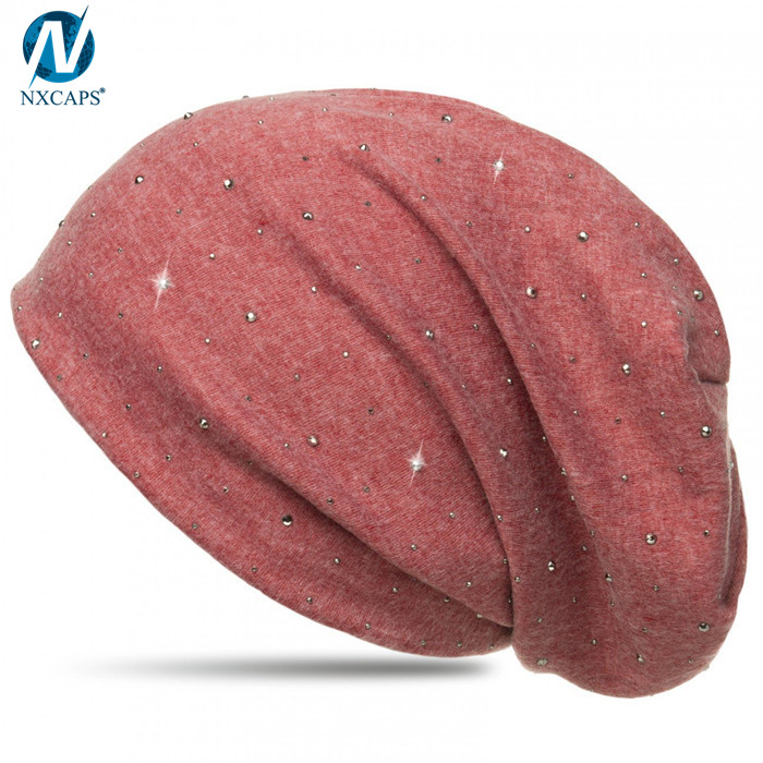 Oem bling beanie hat custom knit slouchy beanie hip hop beanies for women
