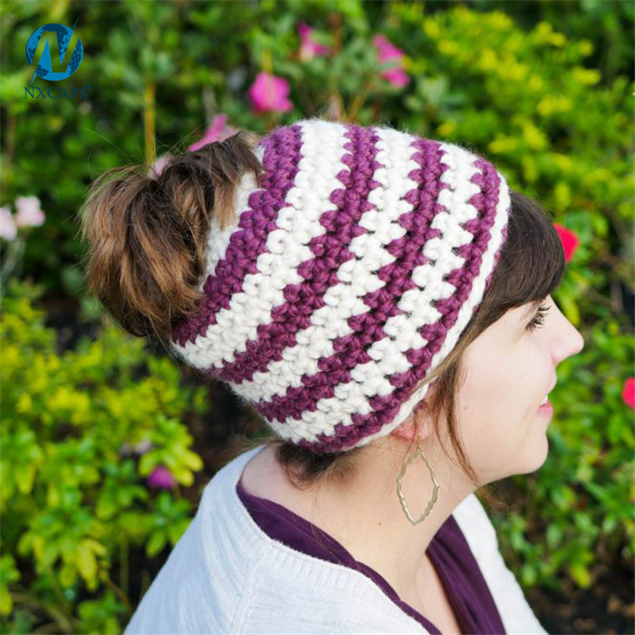 Beanie hat Crochet Ponytail Hats Tail Soft Stretch Cable Knit Messy High Bun Ponytail Beanie cap