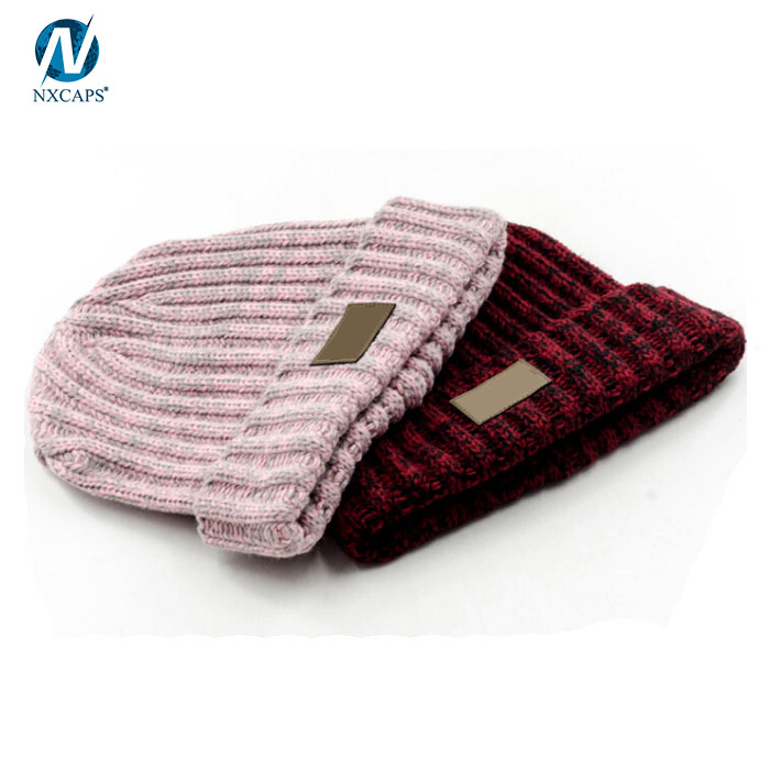 Custom patch beanie rib knit beanie hat plain cuff beanie wholesale
