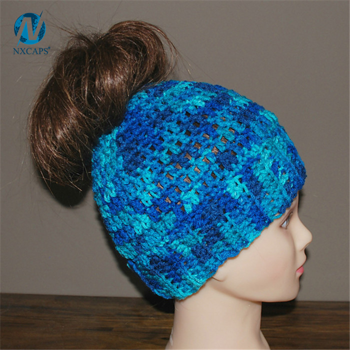 858eeb25ae036 ... Ponytail Hat wholesale Blue Breathable handmade crochet women messy bun  hat ponytail hole hat ...