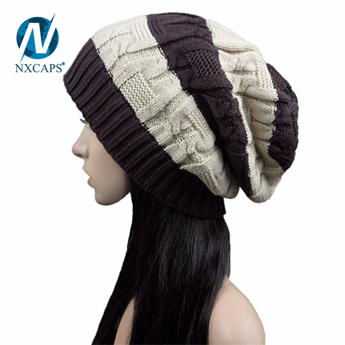 Two tone beanie hat style girls Breathable ribbed hats knitted soft spring cap with custom leather label