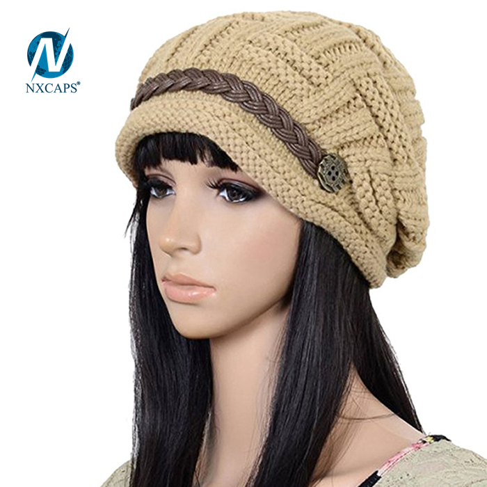 Rope beanie hat wholesale girl beauty knitted cap Adults ribbed beanies winter spring sport outdoor fishing beanie hats