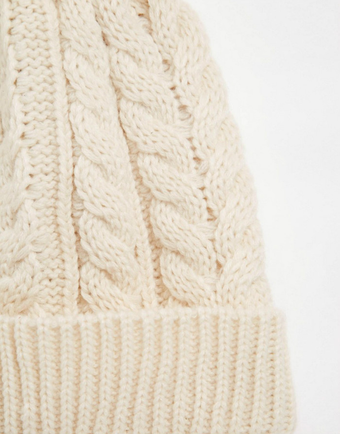 reclaimed vintage bobble beanie in oatmeal custom own desgin logo embroidery