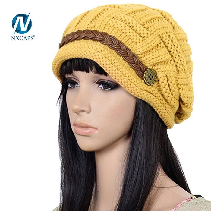 Custom rope beanie hat women acrylic fashion jacquard pattern beanies custom patch girls yellow cap