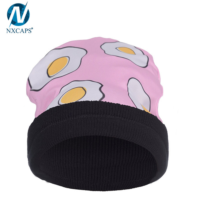 Custom digital printed beanie sublimation beanies emoji beanie hats wholesale