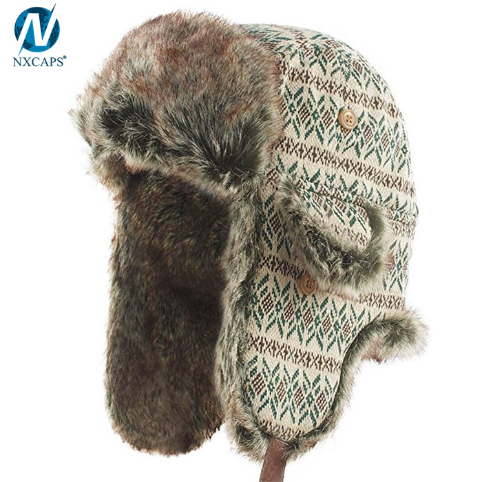 Custom russian ushanka hat classic winter hats trapper bomber hat
