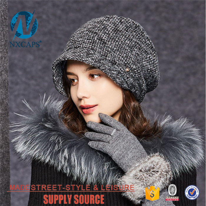 Short brim beanie hat wool ladys classic waterproof knited hats metal button decorate Double Layer beanie cap