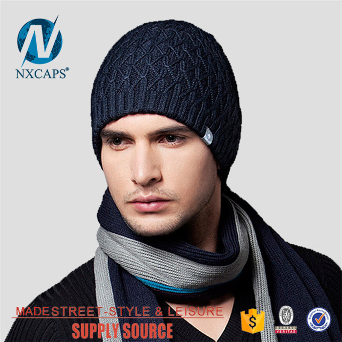 Wholesale Mens Beanie Winter Cap Waterproof Navy Blue Knit Hat