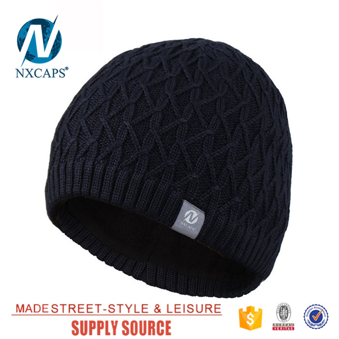 Custom wool knitted cap waterproof beanie hats Personalized straight needle knit hat patterns men free knitted beanies hat
