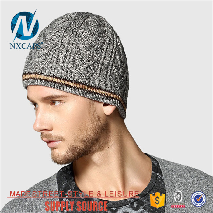 a64646e92231d ... Waterproof grey beanie hat leather patch custom fleece knit hat  wholesale hand knitted Jacquard ...