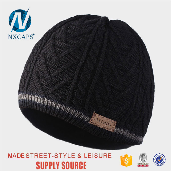 4ae749cec6b13 ... Waterproof beanie hat plain custom wholesale leather patch fleece knit  hat Personalized jacquard men beanie ...