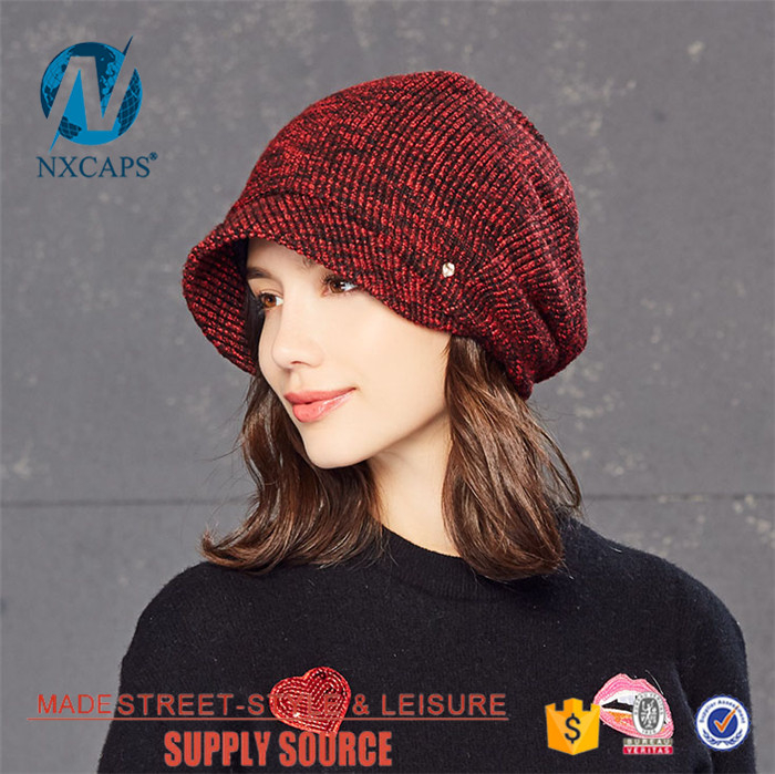 c0e331db908 ... Wholesale knit Short brim hat Custom patterns fashion real hat beanie  winter cap Personalized knitted hat ...