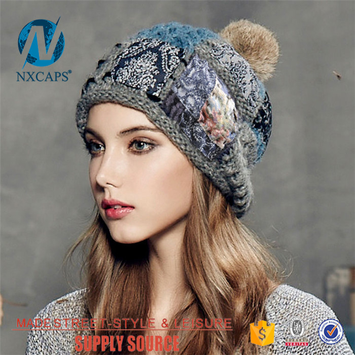 0d0e00c14a3 ... Pom poms beanie patch hat Wholesale custom knit cap custom fashion distressed  label with stitching top ...