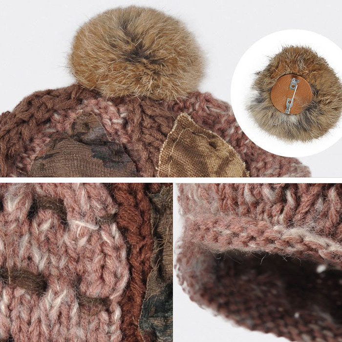 f9d7992257e Pom poms beanie patch hat Wholesale custom knit cap custom fashion distressed  label with stitching top ...