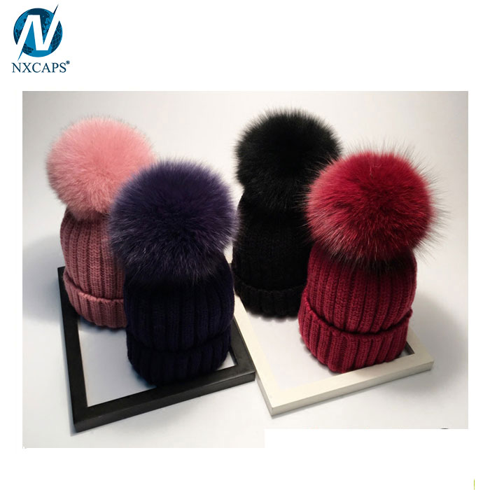 a183b731d2453 ... Custom faux fur pom pom beanie women bobble hat plain beanies wholesale  ...