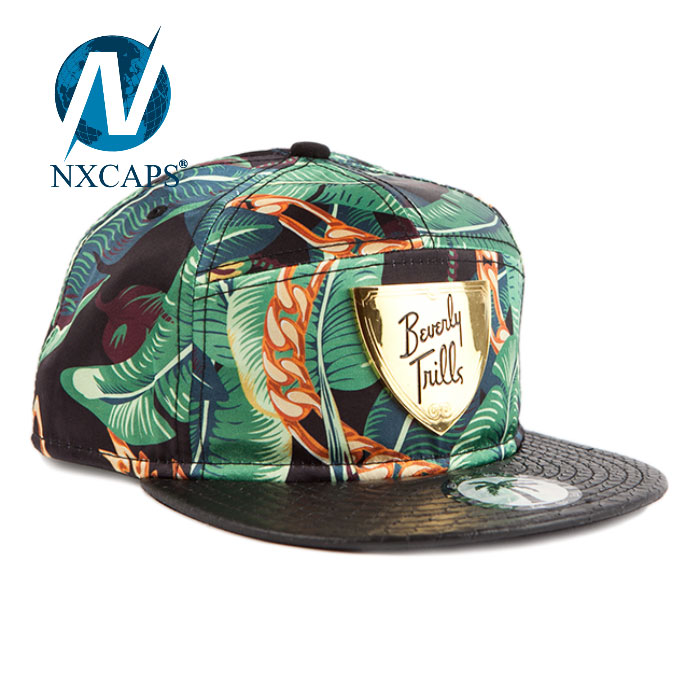Custom Metal Plate Snapback Hats With Your Designs Green Flat Bill Hats