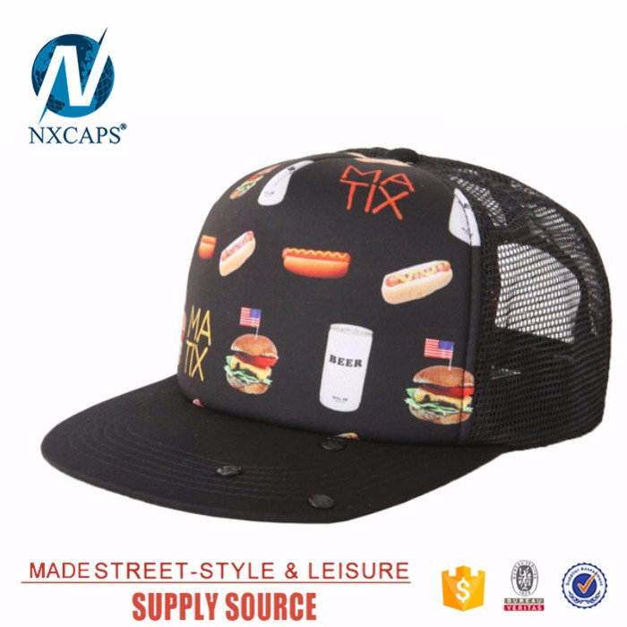 Custom Made Printed Mesh Snapback Caps Hats Blank Printing 5 Panel Trucker Hats Cap
