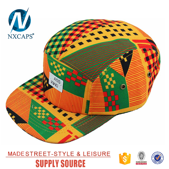 New design many styles custom woven patch african print 5 panel hats leather strap back hats with metal buckle