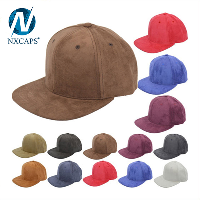 Wholesale dad suede baseball hat custom 6 panel plain snapback cap flat brim unstructured 6 panel hats