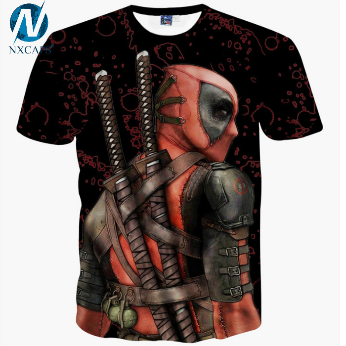 Summer Casual Tops Tee Shirts 3d Anime Print Pokemon Deadpool T Shirt Funny Graphic T-shirts