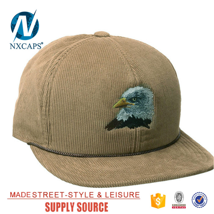 Wholesale custom embroidery snapback rope hat corduroy blank cap 6 panel  trucker hat Twill sports caps leather strap buckle hat b91d9fcfc6a