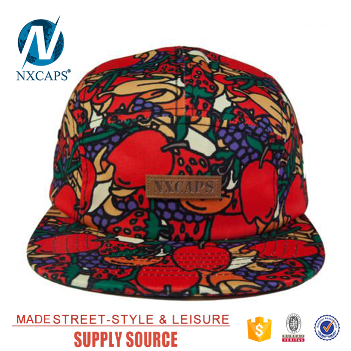 Mix Fruits pattern snapback hats watermelon african print 5 panel hats leather patch bone snapback trucker hat no mesh