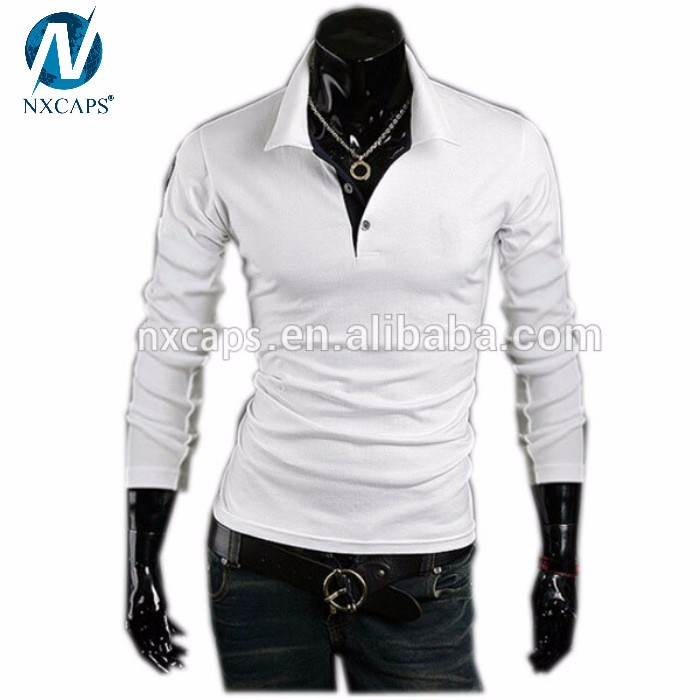Custom Cotton White Tshirt Men's Casual Slim Fit Polo Neck Long Sleeve T-shirt