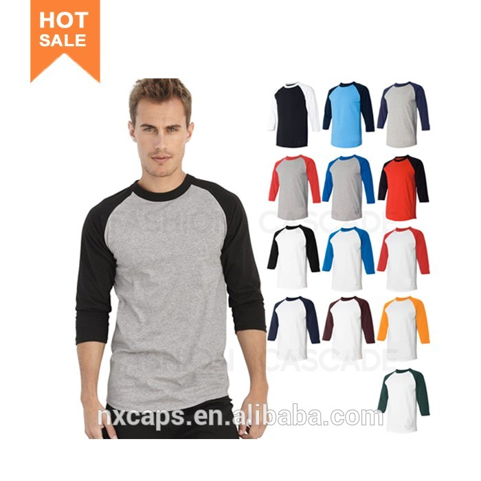 Custom Mens 3/4 Sleeve Raglan Baseball T Shirt Blank Cotton Baseball Shirt