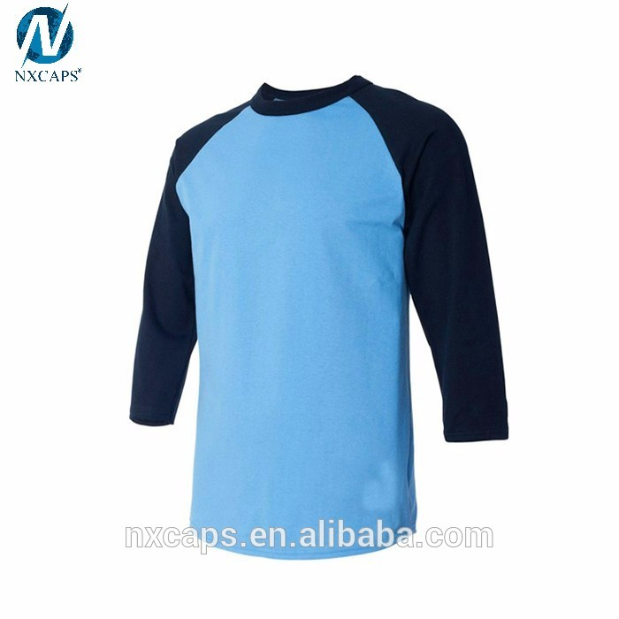 Custom mens 3 4 sleeve baseball t shirt plain baseball t for Custom raglan baseball shirt