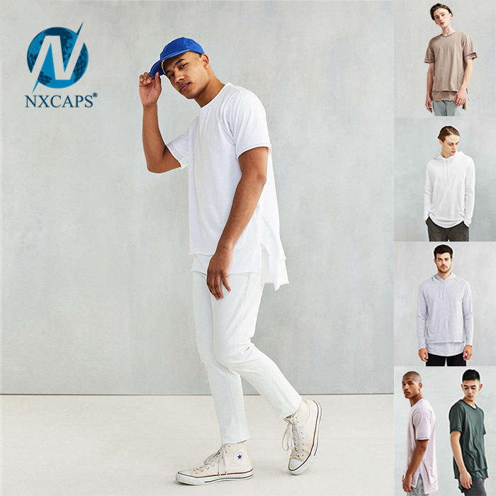 Custom drop tail t shirt dry fit long line tee men oversize blank Double Layer t-shirt Solid Color soft mens t shirt