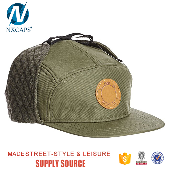 55fb9ea2 ... Private label caps earflap 5 panel flat brimmed snapback cap mens winter  hat custom trapper hats ...