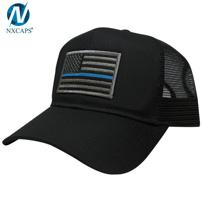 f90f77763ff05 ... Custom trucker hat embroidery patch trucker cap 6 panel mesh trucker  hats with American flag ...