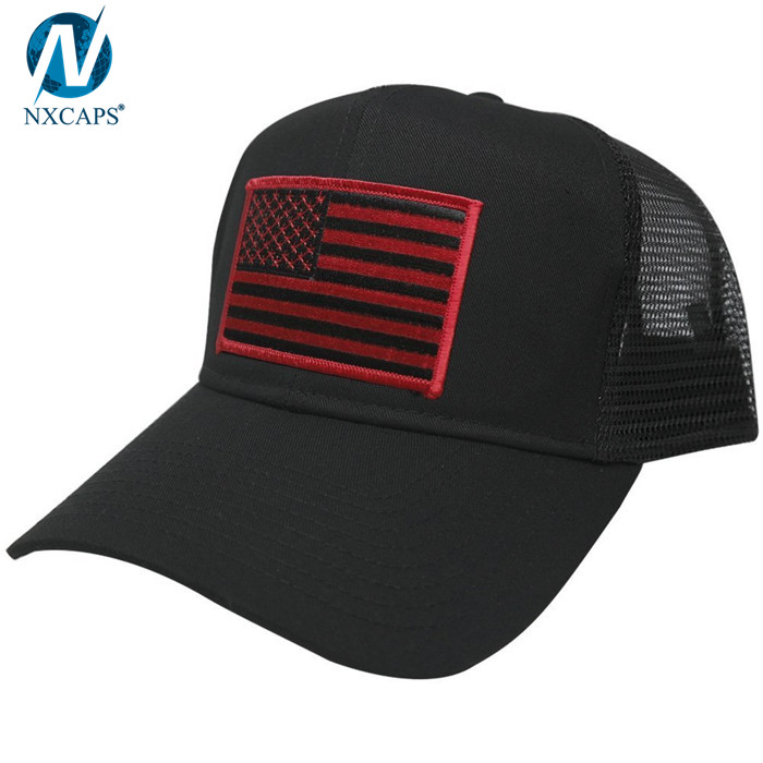 Custom trucker hat embroidery patch trucker cap 6 panel mesh trucker hats with American flag