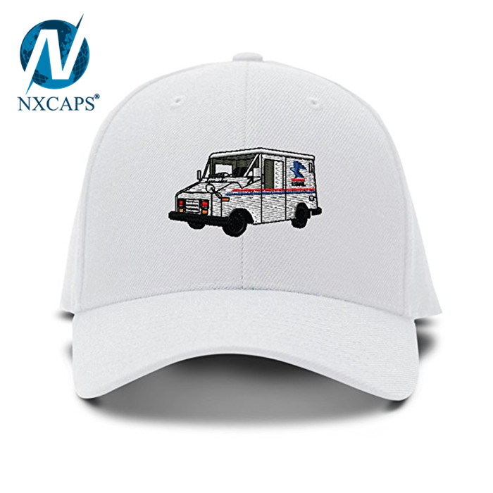e789aa6e868 Mail Truck Mailman Embroidery cap custom 3D Embroidered pattern dad hats  unisex metal strap adjustable Baseball ...