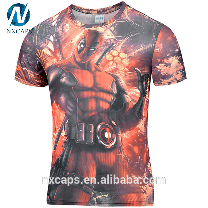 Funny Tee Shirts Anime Deadpool Comic Badass Deadpool T-shirt Men Women Cartoon Characters 3d T Shirt Fitness Camisetas Tees