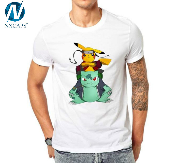 Custom Pokemon Go T Shirt Naruto Pikachu Funny Cool T-shirt Short Sleeve Comics Printed Tshirt
