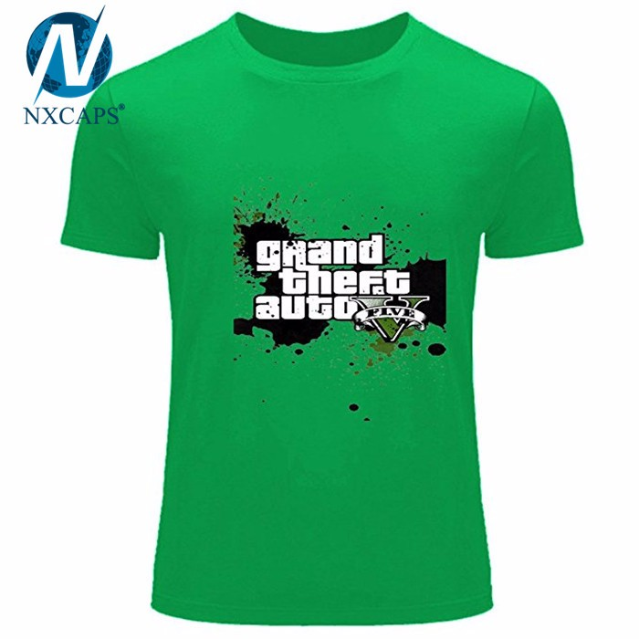Ps4 Gta 5 Game Cotton Grand Theft Auto 5 Pattern Custom Pattern Logo Pima Cotton T Shirts In Peru