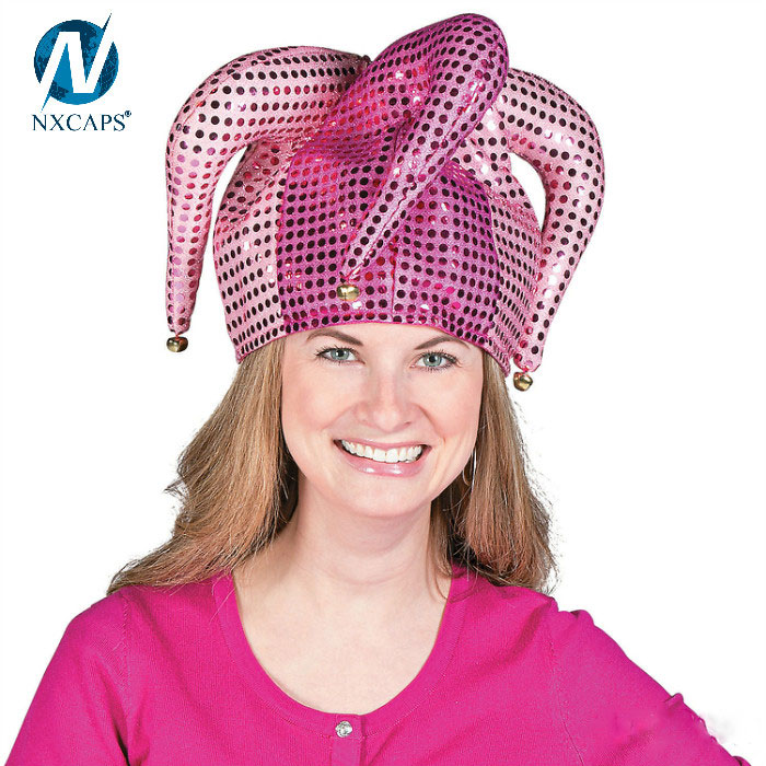 Sequin Pink Santa Jester Hat,Party Decoration Christmas Hat Christmas Headbands To Celebrate The Season