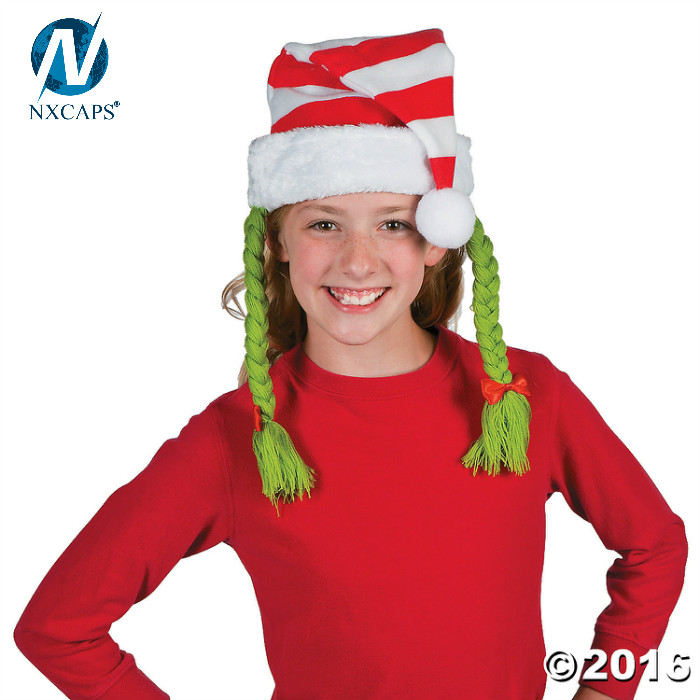 Striped Santa Hat With Braids,Party Decoration Christmas Hat Christmas Headbands To Celebrate The Season