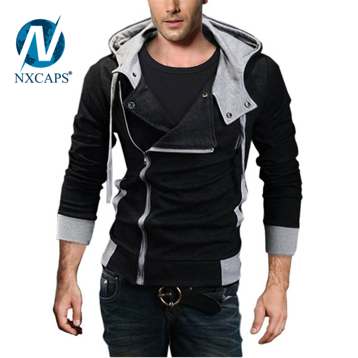 Mens Printing Hoodies Slim Fit Zip up Hooded Overcoat fashion hoodie
