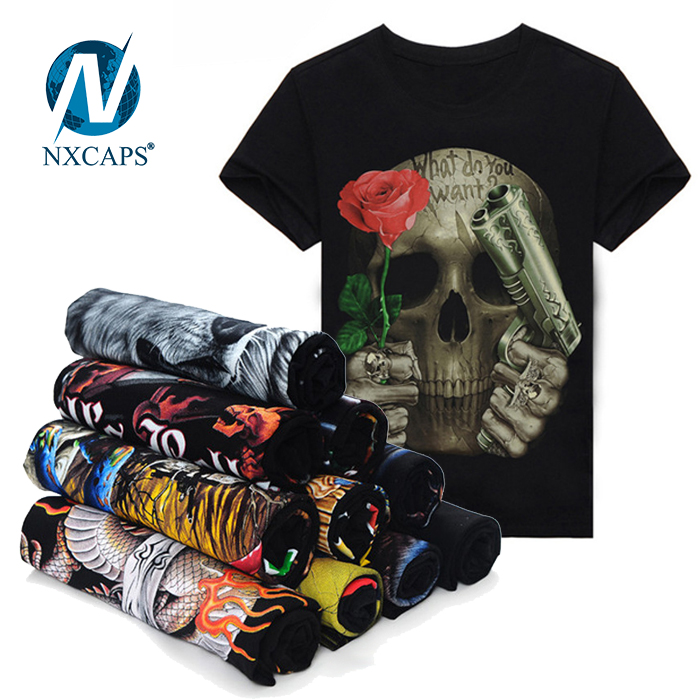 3D Printed Skull T shirt for men Newest Fashion Designed Tees Tops Punk rock Style Cotton Man t shirt Plus Size