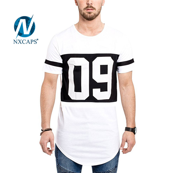 White t shirt with print number Oversized Unisex round bottom long tail t shirt Fashion tees