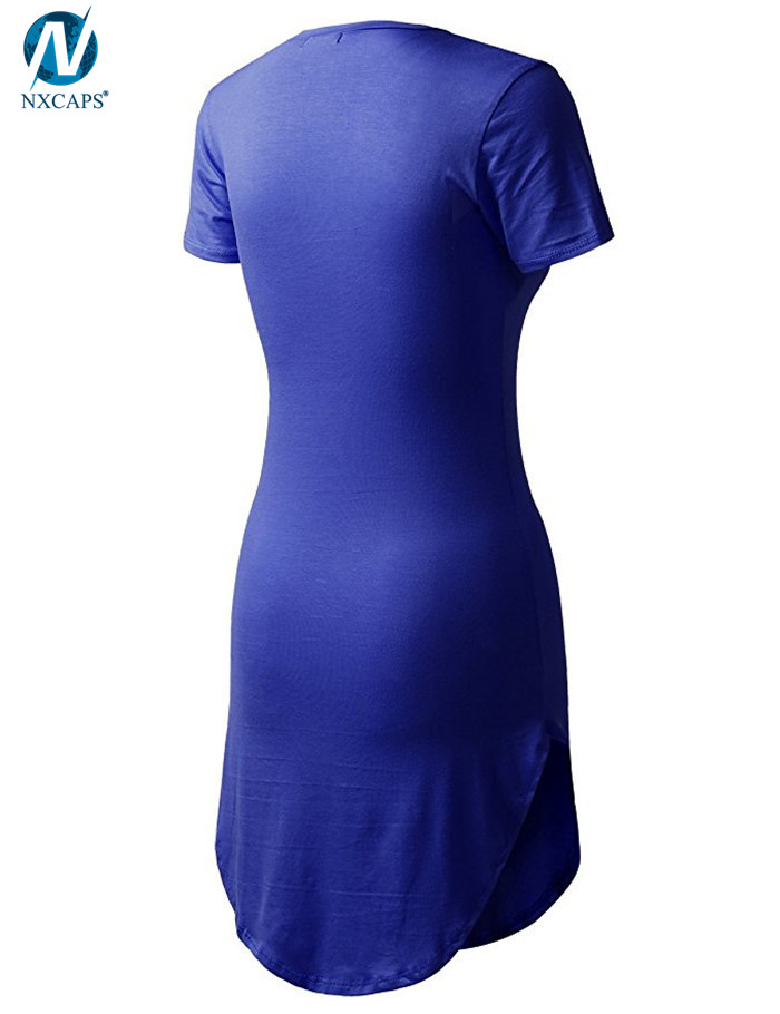 Wholesale Jersey Dress Round Bottom T Shirt Curved Hem Tee