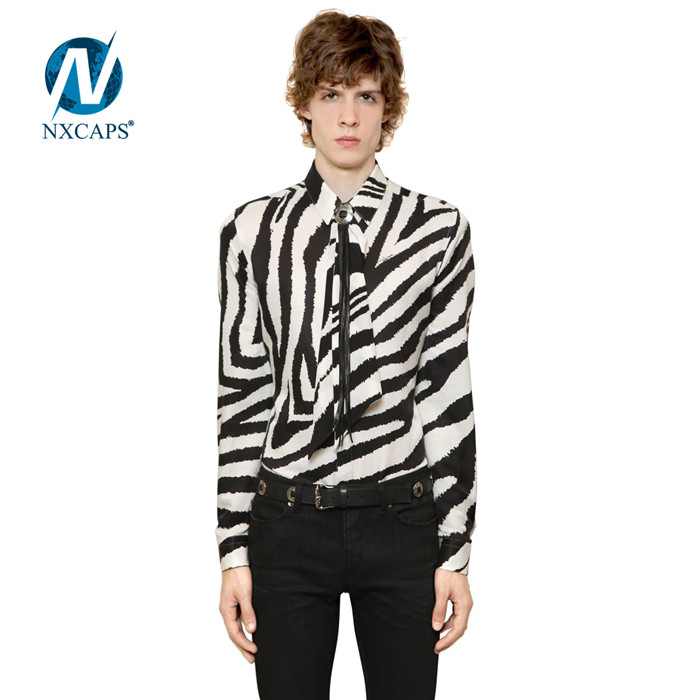 Wholesale work wear polo shirt and tie sets men t shirt 100% cotton Zebra printing mens long sleeve shirts necktie fashion overshirt