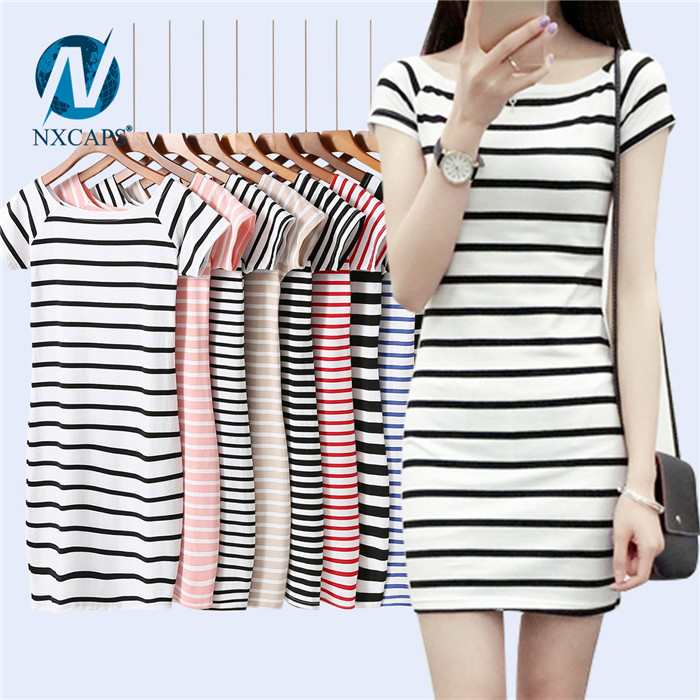 Striped long line t shirt wholesale women white and black plain zebra t-shirt girls short sleeve tee