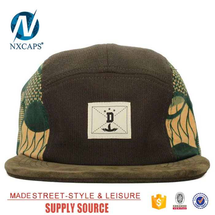 Custom corduroy ​6 lines print snapback hat 5 panel hip hop hat cap with woven patch