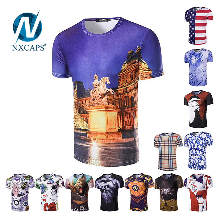 Custom t shirt with Digital flatbed printing colorful pattern t-shirt short sleeve O neck tees